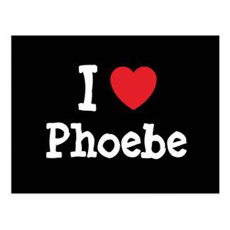 Amo la camiseta del corazón de Phoebe Tarjetas Postales