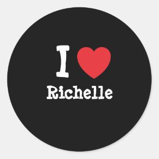 Amo la camiseta del corazón de Richelle Pegatina Redonda