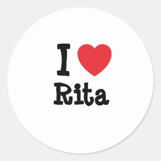 Amo la camiseta del corazón de Rita Pegatinas