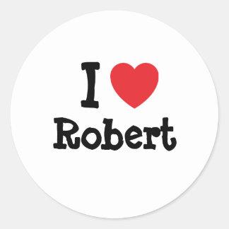 Amo la camiseta del corazón de Roberto Pegatina Redonda