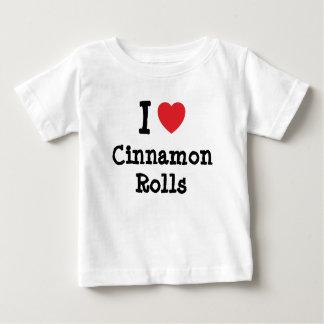 Amo la camiseta del corazón de Rolls del canela Poleras