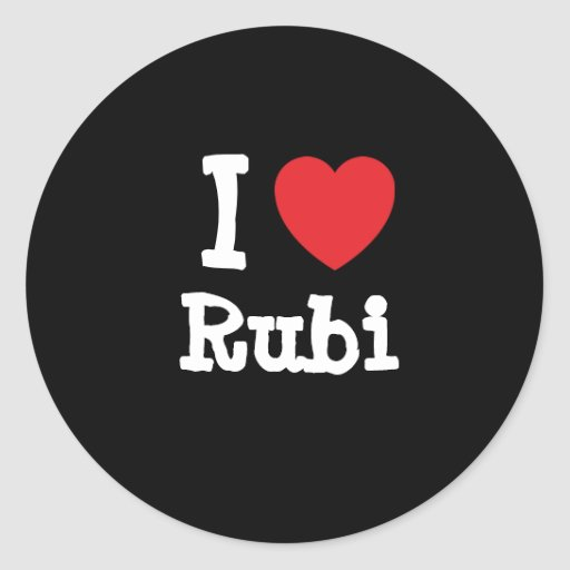 Amo la camiseta del corazón de Rubi Pegatinas Redondas