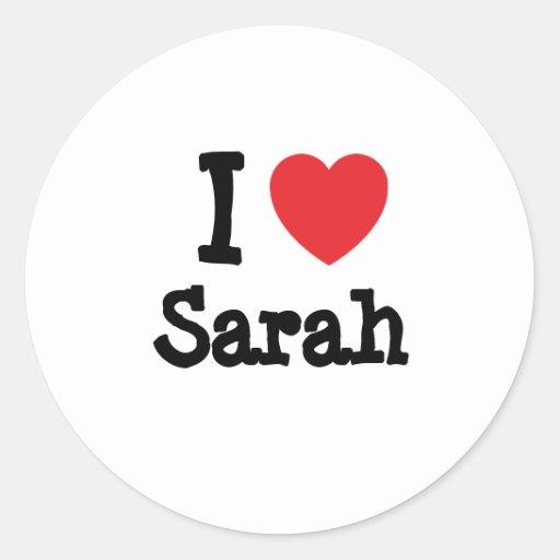 Amo la camiseta del corazón de Sarah Pegatina Redonda
