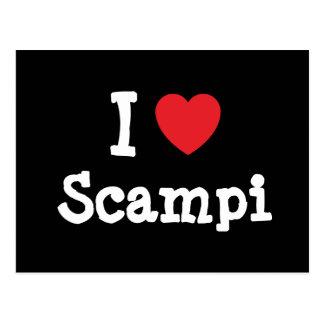 Amo la camiseta del corazón de Scampi Tarjetas Postales
