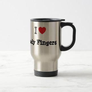 Amo la camiseta del corazón de señora Fingers Taza De Café