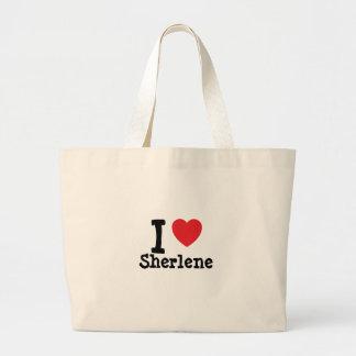 Amo la camiseta del corazón de Sherlene Bolsa Tela Grande