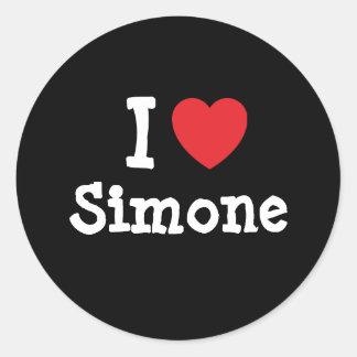 Amo la camiseta del corazón de Simone Pegatina Redonda