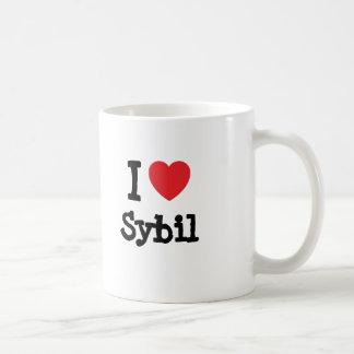 Amo la camiseta del corazón de Sybil Tazas