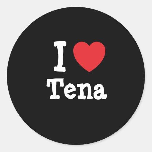 Amo la camiseta del corazón de Tena Pegatina Redonda