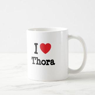 Amo la camiseta del corazón de Thora Taza Básica Blanca