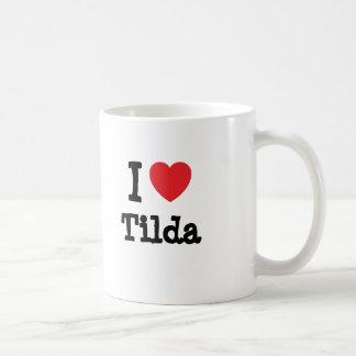 Amo la camiseta del corazón de Tilda Taza De Café