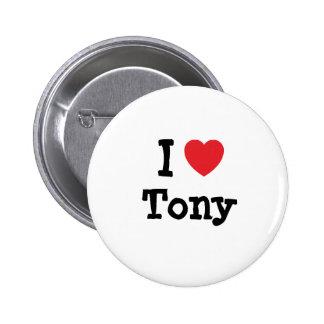 Amo la camiseta del corazón de Tony Pin Redondo De 2 Pulgadas