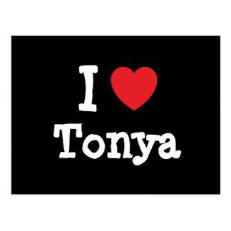 Amo la camiseta del corazón de Tonya Postal