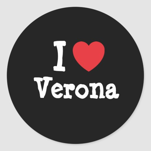 Amo la camiseta del corazón de Verona Pegatinas Redondas
