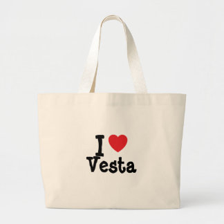 Amo la camiseta del corazón de Vesta Bolsa Tela Grande