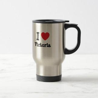 Amo la camiseta del corazón de Victoria Taza De Viaje