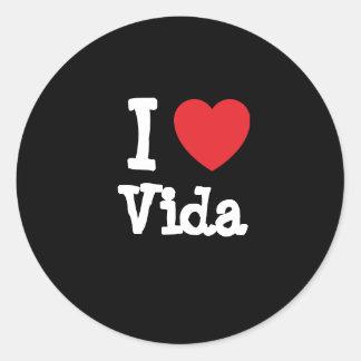 Amo la camiseta del corazón de Vida Etiquetas Redondas