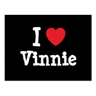 Amo la camiseta del corazón de Vinnie Tarjetas Postales
