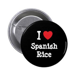 Amo la camiseta del corazón del arroz español pin