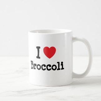 Amo la camiseta del corazón del bróculi taza de café