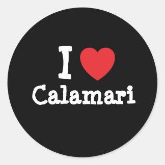 Amo la camiseta del corazón del Calamari Pegatina Redonda