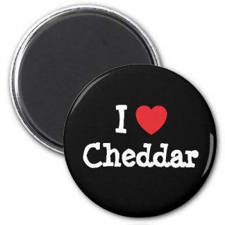 Amo la camiseta del corazón del Cheddar Imán Redondo 5 Cm