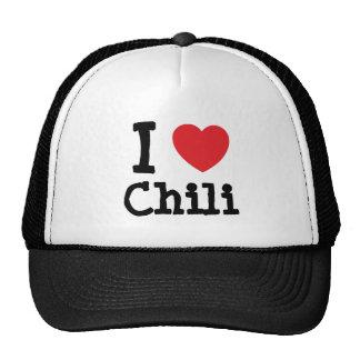 Amo la camiseta del corazón del chile gorros bordados
