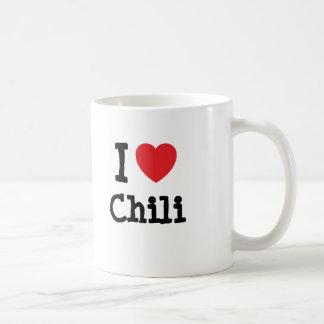 Amo la camiseta del corazón del chile taza clásica
