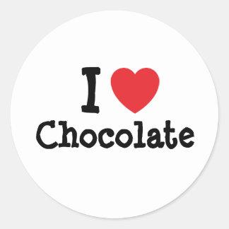 Amo la camiseta del corazón del chocolate pegatina redonda