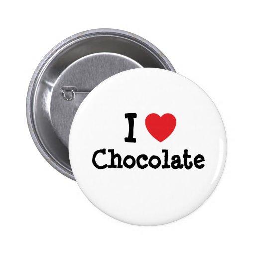 Amo la camiseta del corazón del chocolate pin