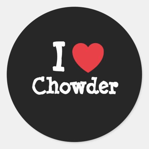 Amo la camiseta del corazón del Chowder Etiquetas