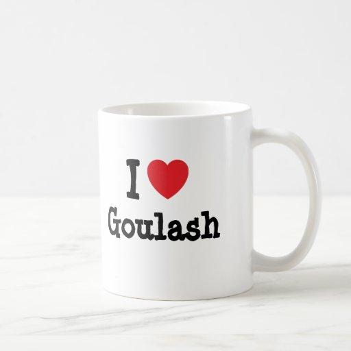 Amo la camiseta del corazón del cocido húngaro tazas