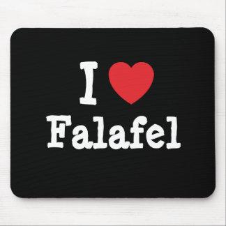 Amo la camiseta del corazón del Falafel Tapetes De Ratones