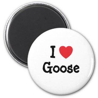 Amo la camiseta del corazón del ganso imanes de nevera