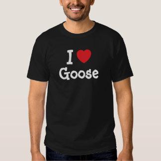 Amo la camiseta del corazón del ganso polera