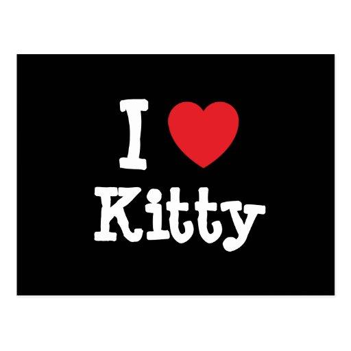 Amo la camiseta del corazón del gatito postal