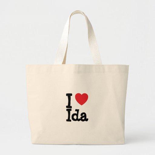 Amo la camiseta del corazón del Ida Bolsa Tela Grande