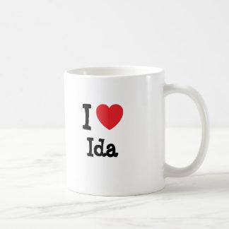 Amo la camiseta del corazón del Ida Tazas