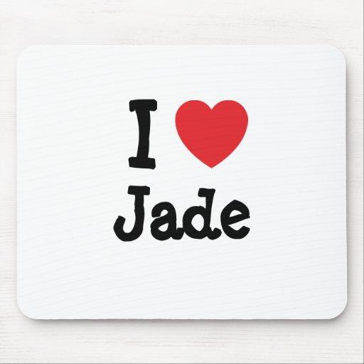 Amo la camiseta del corazón del jade alfombrilla de raton