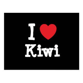 Amo la camiseta del corazón del kiwi tarjetas postales