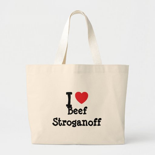 Amo la camiseta del corazón del lomo a la Strogano Bolsa Tela Grande