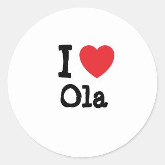 Amo la camiseta del corazón del Ola Etiqueta Redonda