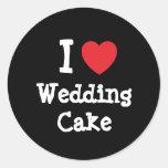 Amo la camiseta del corazón del pastel de bodas pegatinas redondas