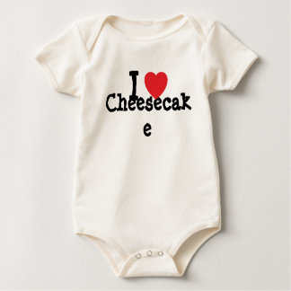 Amo la camiseta del corazón del pastel de queso mameluco de bebé