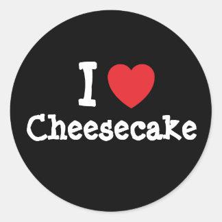 Amo la camiseta del corazón del pastel de queso pegatina redonda