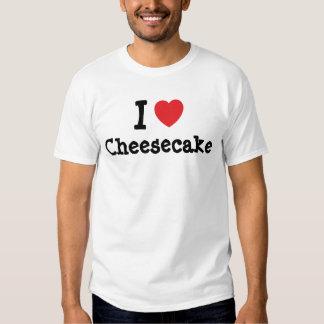 Amo la camiseta del corazón del pastel de queso playera