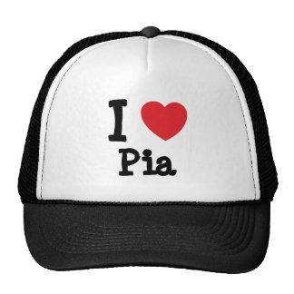 Amo la camiseta del corazón del Pia Gorros Bordados
