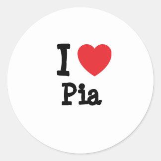 Amo la camiseta del corazón del Pia Pegatina Redonda