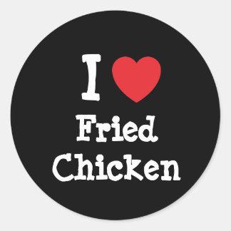 Amo la camiseta del corazón del pollo frito pegatina redonda