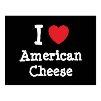 Amo la camiseta del corazón del queso americano postal